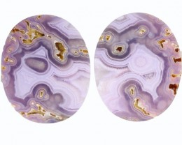 35.60 CTS AGATE PAIR NATURAL PURPLE/MAUVE BRAZIL [MGW5308]