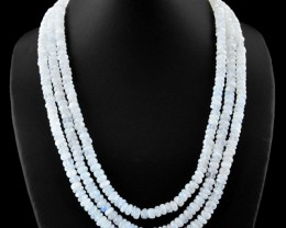 3 Line Flash Moonstone Faceted Necklace