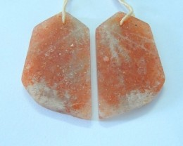 30x19x3mm Natural Nugget Sparkling Sunstone Earring Pair For Women,Hot Sale