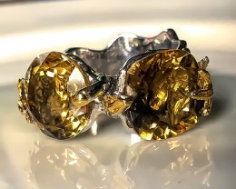 'Golden Leaves - Cognac Citrine Gold Sterling Silver Ring Size10