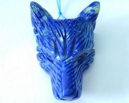 47X33X15MM,Natural Dark Blue High Quality Lapis Lazuli Handcarved Wolf Head