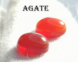 2.90 CARAT HOT MEDIUM ORANGE PAIR OF AGATE CABS