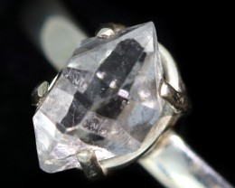 7.5 RING SIZE HERKIMER DIAMOND NATURAL-SILVER [SJ4643]