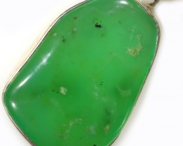 110.50 CTS LARGE CHRYSOPRASE SILVER PENDANT-FACTORY DIRECT [SJ4657]