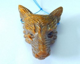 39x30x13mm Natural Tiger Eye Handcarved Wolf Head Necklace Pendant Beads, S