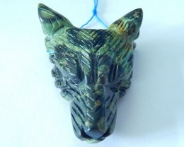40x31x13mm Natural Ocean Kambaba Handcarved Wolf Head Necklace Pendant(1709