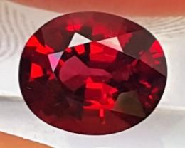2.83cts Rhodolite Garnet,  Bright Luminious Fire,  VVS1,