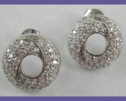 ART DECO DESIGN - STERLING SILVER EARRINGS - PAVE SET WITH CZ""