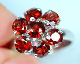 Lot 18 ~ 21.80Ct Natural Rhodolite Garnet 925 Silver Ring Size 7