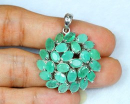 38.80Ct Sterling Silver 925 Natural Emerald Pendant