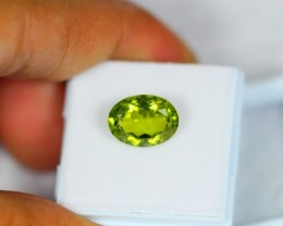 4.10Ct Natural Green Peridot Oval Cut