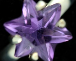 8 SIZE AMETHYST STAR RING -FACTORY DIRECT  [SJ4711]8