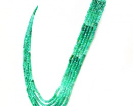 5 Line Green Fluorite Faceted Necklace