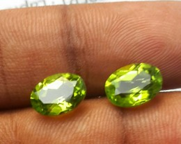 4.60 Cts.Magnificient Top cut Sparkling Intense Green 7X9 mm Peridot 2 pcs