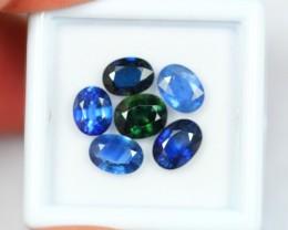 NR Lot 13 ~ 5.97Ct Natural Green Blue Sapphire Flower Pendant Set