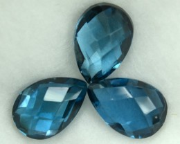 5.27 Cts Natural Blue Topaz 3 Pcs Pear Cut Brazil gem