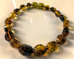 "7"" inner Amazing Baltic Amber Bracelet Faceted gems"