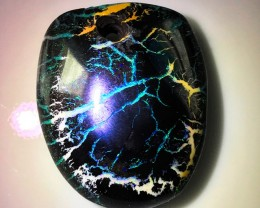 84.00cts Extraordinary Patterned Boulder Opal Bead Solid gem drilled