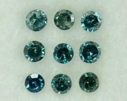 0.13 Cts Natural Blue Diamond 9 Pcs Round Africa
