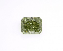 Chameleon Diamond, Natural Fancy Deep Green Yellow 1.51 ct. VS2 Radiant sha