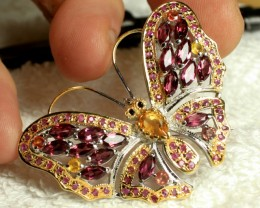 73.8 Carat Malawi Garnet, Silver, 14K Gold Plated Broach