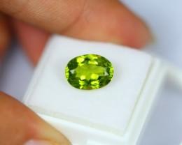 3.79Ct Natural Green Peridot Oval Cut
