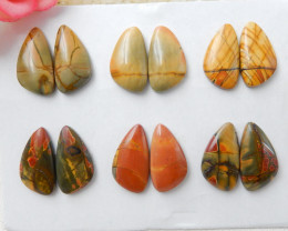 Sell 6 pairs Muti Color Picasso Jasper Cabochon Pair, Cheap Price Charm Gem