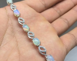 Fantastic Natural 35.5tcw. Rainbow Fire Opal CZ Bracelet Untreated