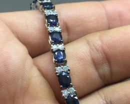 (B2) Fascinating Nat 72.55tcw. Top Deep Blue Sapphire CZ Bracelet