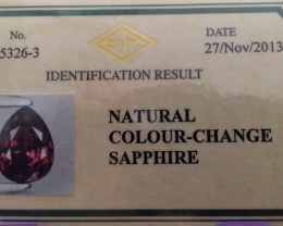 CERTIFIED COLOR CHANGE SAPPHIRE .367cts ~ BEAUTIFUL