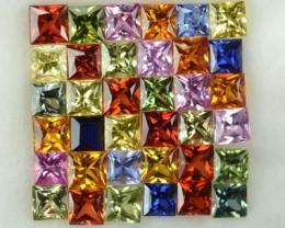 4.71 Cts Natural Fancy Sapphire 2.7-2.5 mm Princess Cut 36 Pcs Parcel