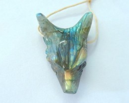 27x19x10mm Natural Flashy Labradorite Wolf Head Necklace Pendant Bead(17091
