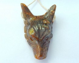 New Arrival, 49.5CT Natural Gold Rutilated Quartz Handcarved Wolf Head Neck