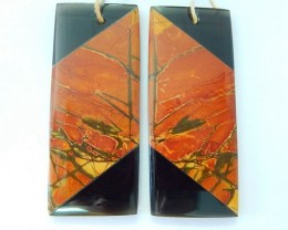 New Design!!! Natural Muti Color Picasso Jasper,Obsidian Intarsia Rectangul