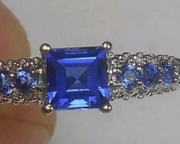 Splendid $2200 Nat 1.45tcw Designer 10K Solid Wht Gold Tanzanite Ring