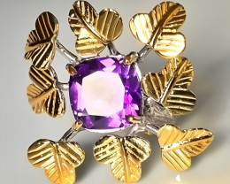 Golden Clover Amethyst Gold and Silver Ring Size 9