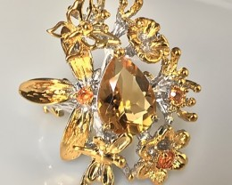 'Butterfly rest' Hand worked Citrine Sapphire Sterling Gold Ring Size 9.5