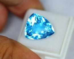 13.69Ct Natural Swiss Blue Topaz Triangle Cut