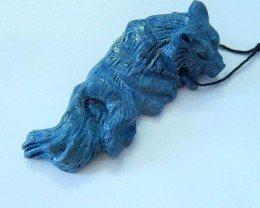 Wolf Pendant, Carved Natural Blue Coral Wolf Necklace Pendant Beads,Delicat