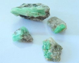 Sell 4pcs Emerald Rough Of Different Size,Heated Treatment,Semiprecious Sto