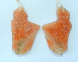 46x37x3mm Natural Nugget Sparkling Sunstone Earrings Pair,Fashion Healing G