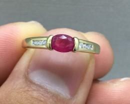Designer $1450 Nat 0.69 ct 14K Solid Yllw Gold Ruby & Diamond Ring