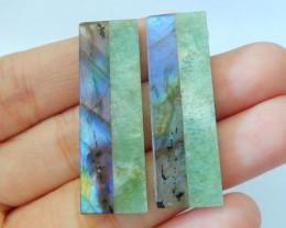 Newest Design,Natural Blue Flash Labradorite and Amazonite Intarsia Rectang
