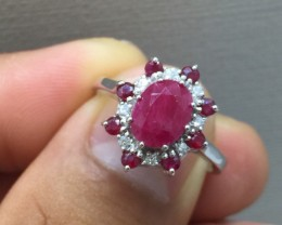 Enchanting Natural 15.5tcw Ruby & CZ Ring Heated