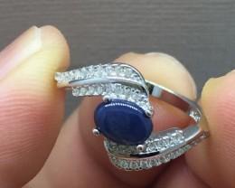 Splendid Nat 14.8tcw Blue Sapphire & White CZ Ring Untreated