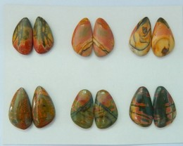 Wholesale! Sell 6pairs Natural Muti Color Picasso Jasper Cabochon Matching