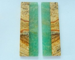New Style Intarsia Earrings, Natural Picture Japser and Amazonite Intarsia