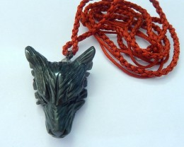 Wolf Head Necklace, Natural Obsidian Handcarved Wolf Head With 43CM Long Re