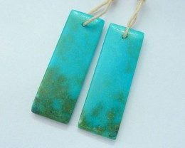 31x20x3mm Natural Turquoise Rectangular Earrings Beads For Women(17091810)