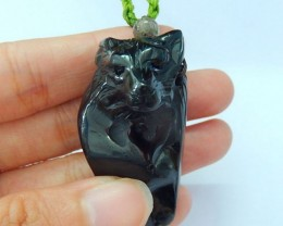 New Design! Natural Obsidian Handcarved Wolf Necklace (17091811)